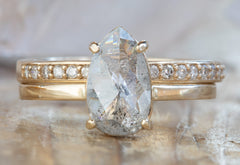 One of a Kind Rose Cut Salt & Pepper Diamond Engagement Ring