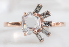 One of a Kind Geometric White Diamond + Baguette Cluster Ring