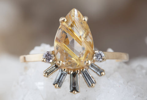 One of a Kind Rutilated Quartz & Baguette Diamond Sunburst Ring