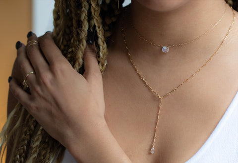 Bar Chain Briolette Diamond Lariat Necklace