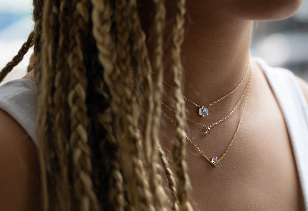 Rose Cut Moonstone Hexagon Necklace