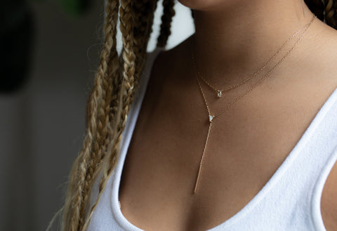 Simple Diamond Briolette Necklace