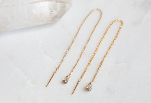 Simple Diamond Drop Thread Earrings