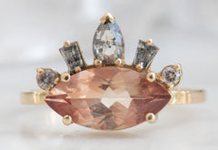 All-Seeing Eye Sunstone Engagement Ring with Geometric Baguette Sunburst