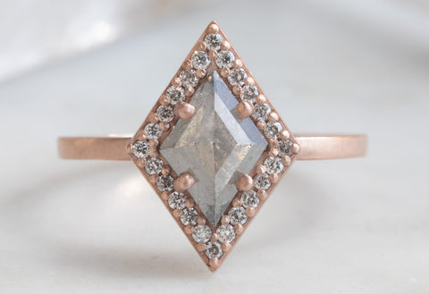Grey Step-Cut Geometric Diamond Engagement Ring with Pavé Halo