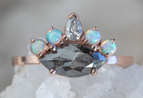All-Seeing Eye Ring with Black Diamond + Opal