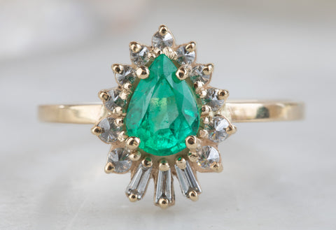 Pear Cut Emerald Engagement Ring with Baguette Sunburst Halo