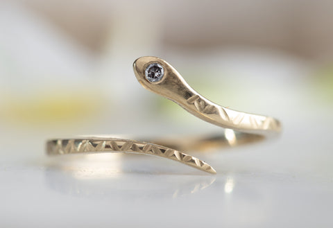 Salt & Pepper Diamond Serpent Ring