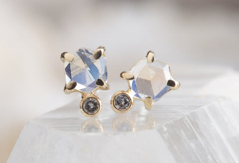 Moonstone Hexagon + Diamond Stud Earrings