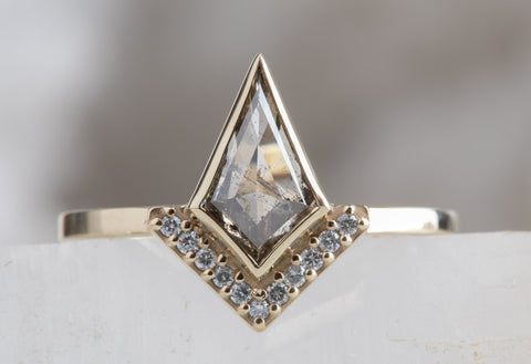 Kite-Shaped Salt + Pepper Diamond Engagement Ring with Half Halo