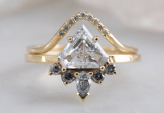 Shield Cut White Diamond Engagement Ring with Grey Diamond Sunburst
