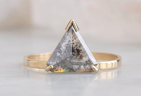One of a Kind Salt + Pepper Trillion Diamond Engagement Ring