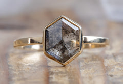 Hexagon-Cut Salt + Pepper Diamond Engagement Ring
