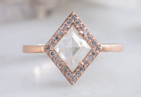 Geometric White Kite Diamond Engagement Ring with Halo