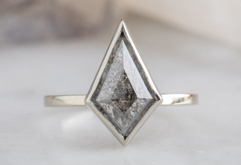 Geometric Salt & Pepper Kite Diamond Engagement Ring