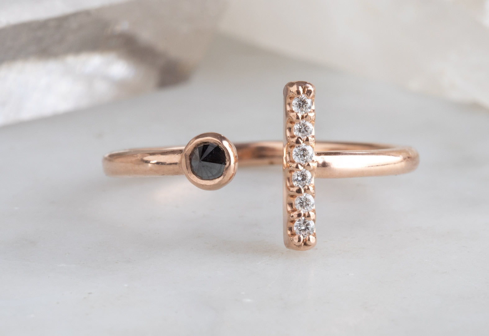 Black + White Diamond Linea Ring