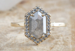 Grey Step-Cut Hexagon Diamond Engagement Ring with Halo
