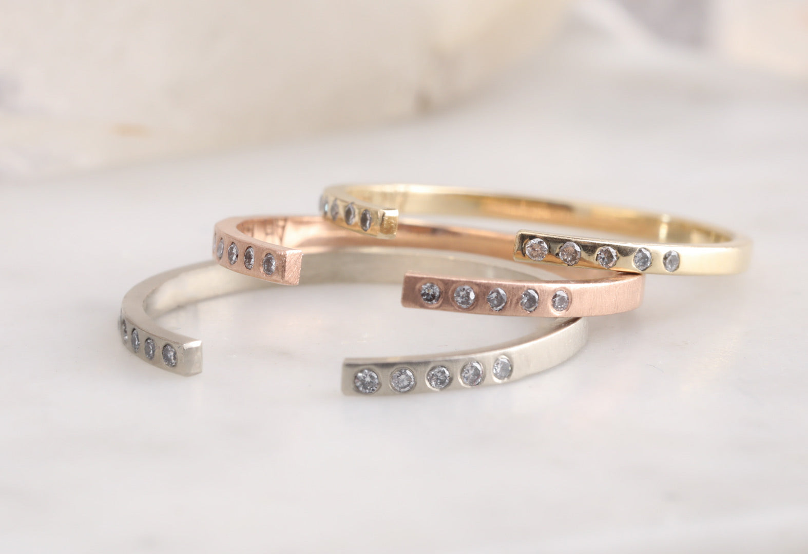 Open Cuff Flush Set Pavé Diamond Band