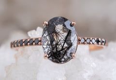 Oval-Cut Tourmaline In Quartz Engagement Ring with Black Pavé Band