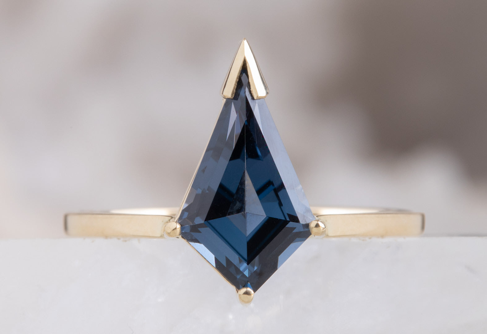 One of a Kind Geometric Blue Spinel Engagement Ring