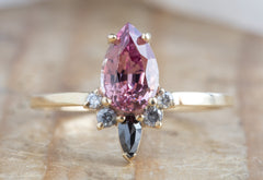 Malaya Garnet Engagement Ring with Black + White Diamond Sunburst