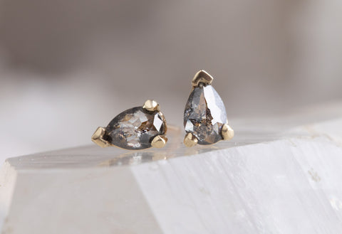 Rose-Cut Salt & Pepper Diamond Stud Earrings