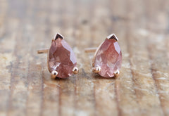 Peachy-Pink Sunstone Stud Earrings