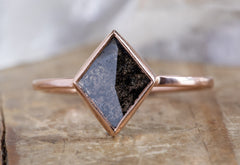 Geometric Black Diamond Engagement Ring