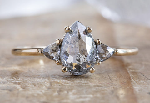 Three Stone Salt + Pepper Diamond Engagement Ring