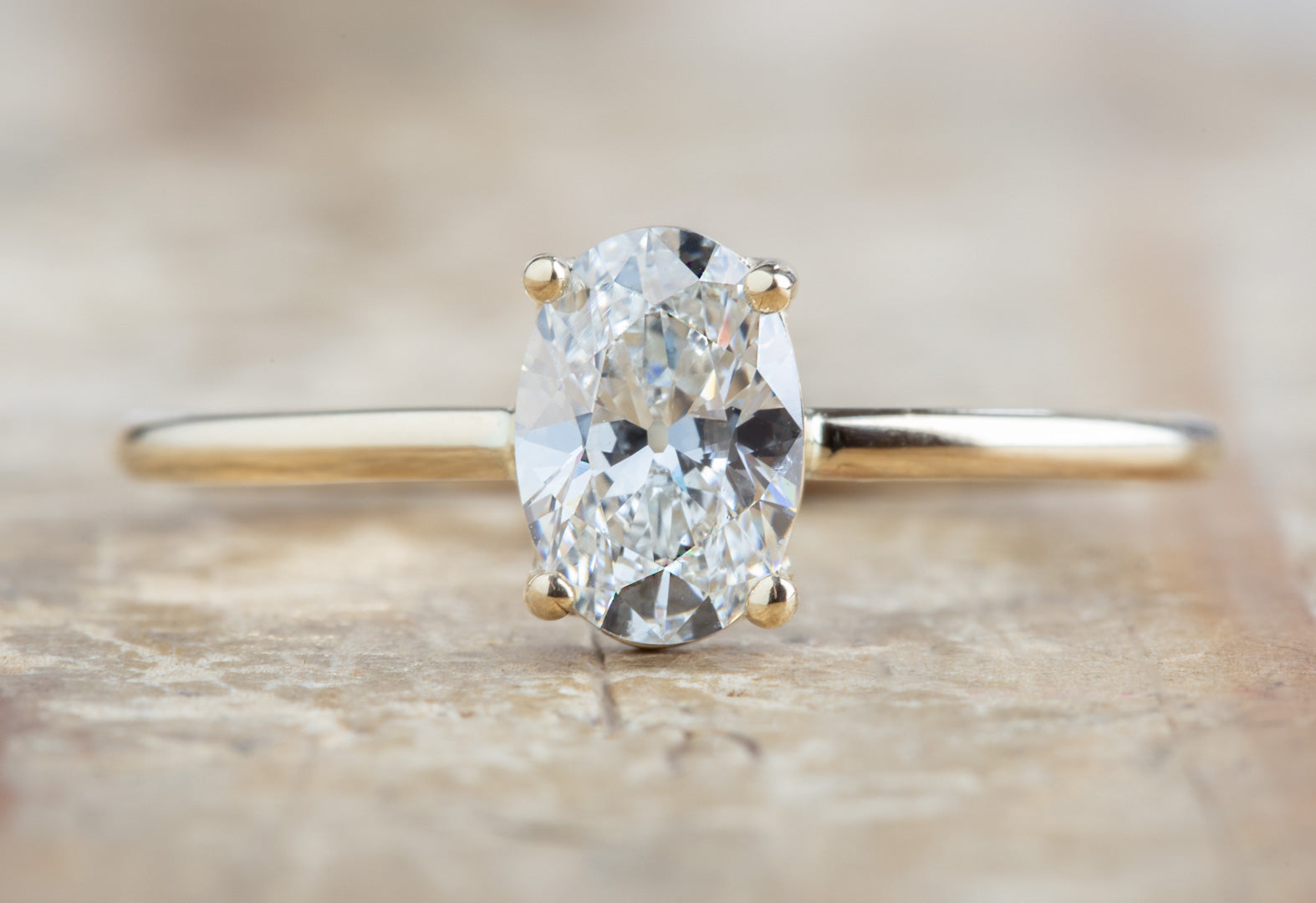 Oval Cut White Diamond Engagement Ring