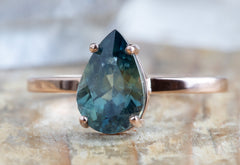 Pear-Cut Watercolor Montana Sapphire Engagement Ring