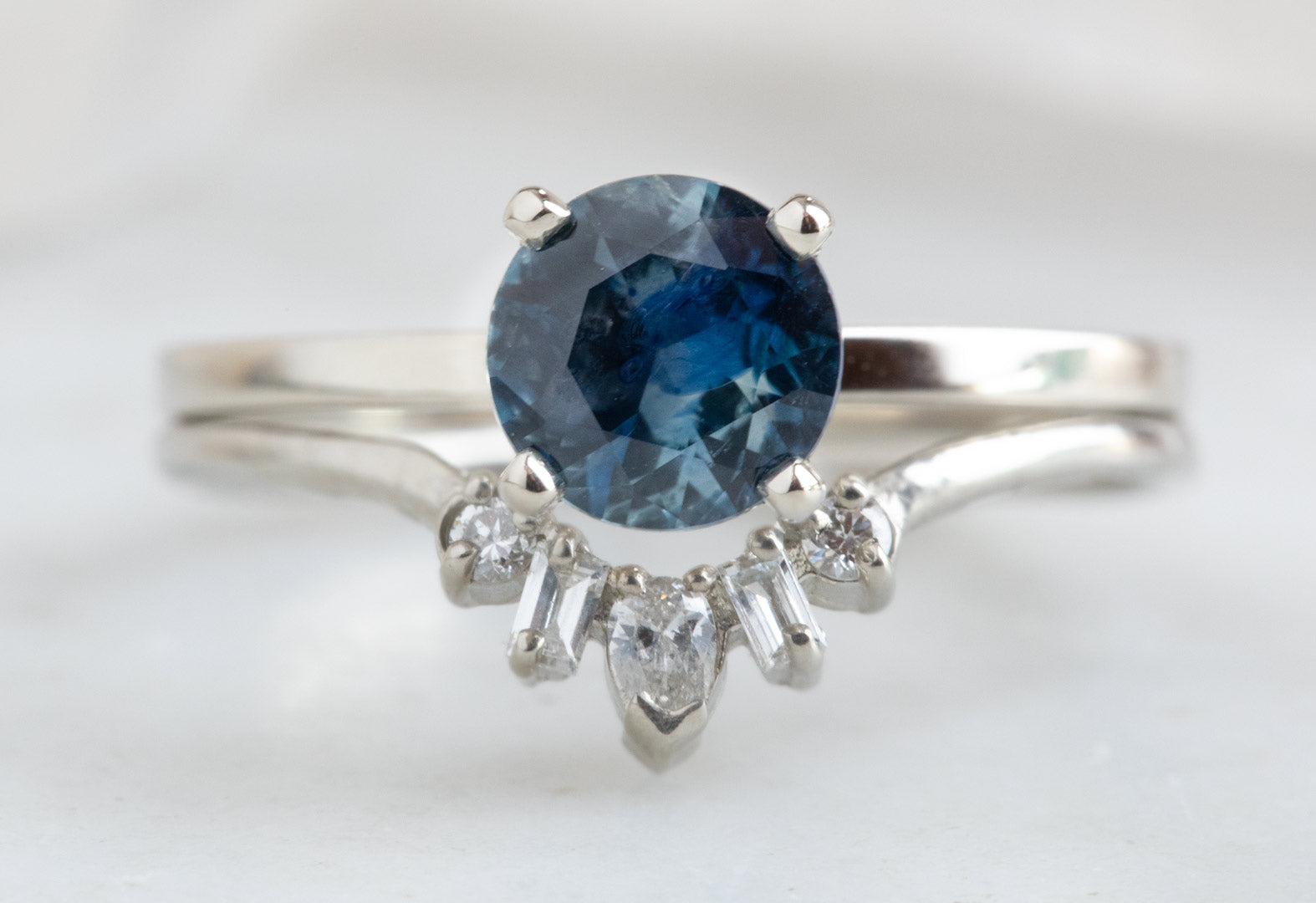 One of a Kind Round-Cut Watercolor Montana Sapphire Engagement Ring