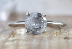 Round-Cut Silvery-Blue Salt + Pepper Diamond Engagement Ring with Knife Edge Band