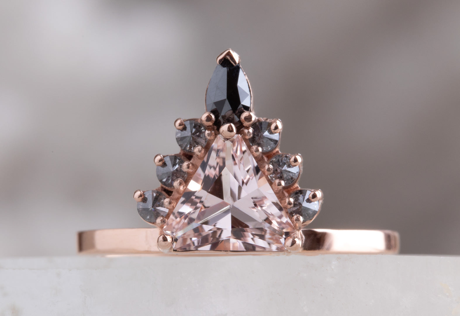 One of a Kind Morganite Trillion Engagement Ring with Black Diamond Sunburst