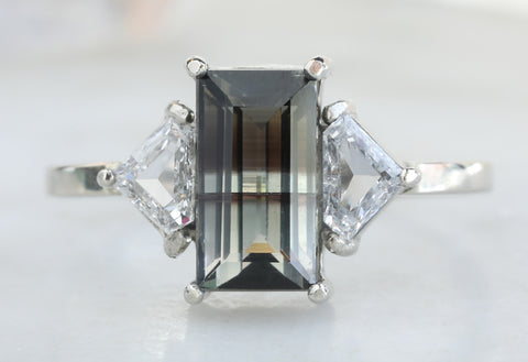One Of A Kind Bi-Color Tourmaline with Side Diamonds