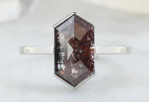 One Of A Kind Natural Red Hexagon Diamond Engagement Ring