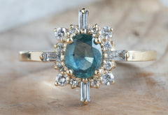 Teal Montana Sapphire Compass Engagement Ring
