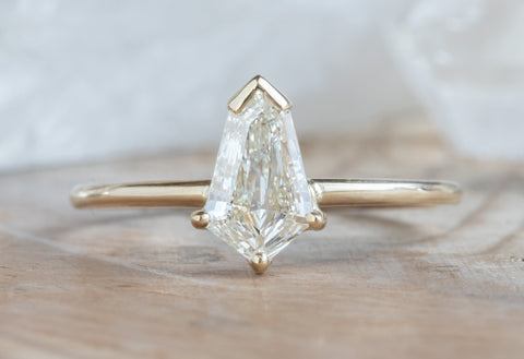 Geometric White Diamond Solitaire Engagement Ring
