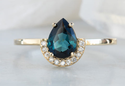 One of a Kind Teal Tourmaline Engagement Ring with Half Pavé Diamond Halo