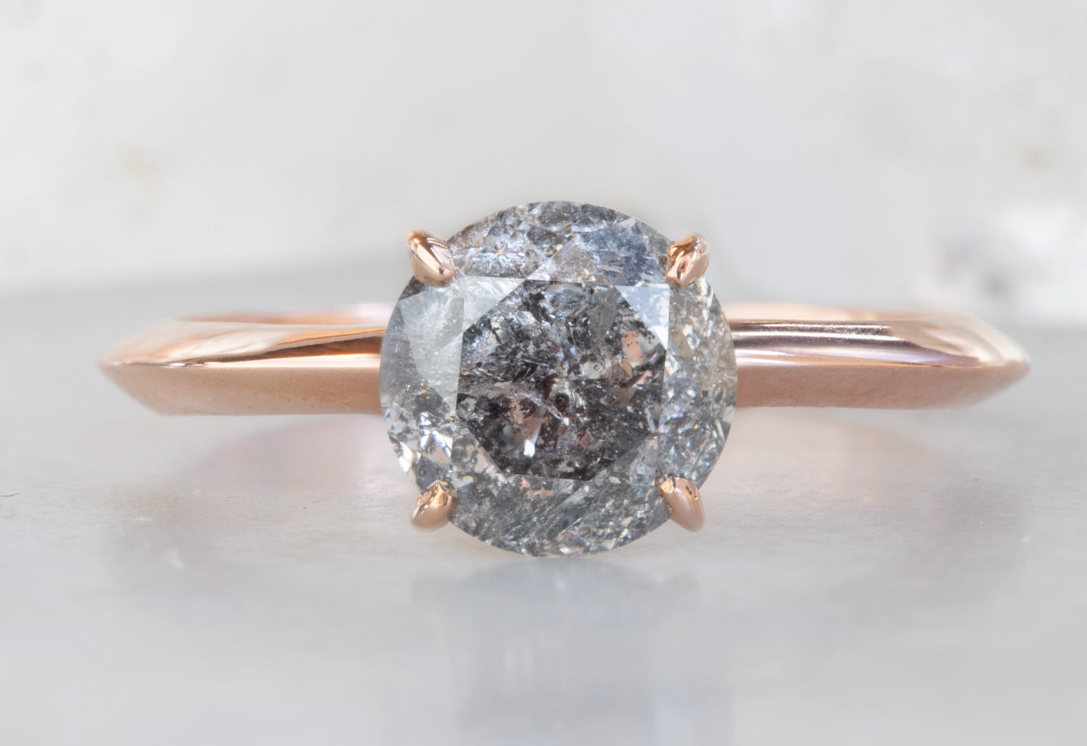 Round Galaxy Diamond Engagement Ring with Knife Edge Band