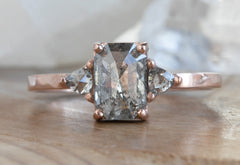Emerald Cut Salt + Pepper Diamond Engagement Ring with Side Trillions