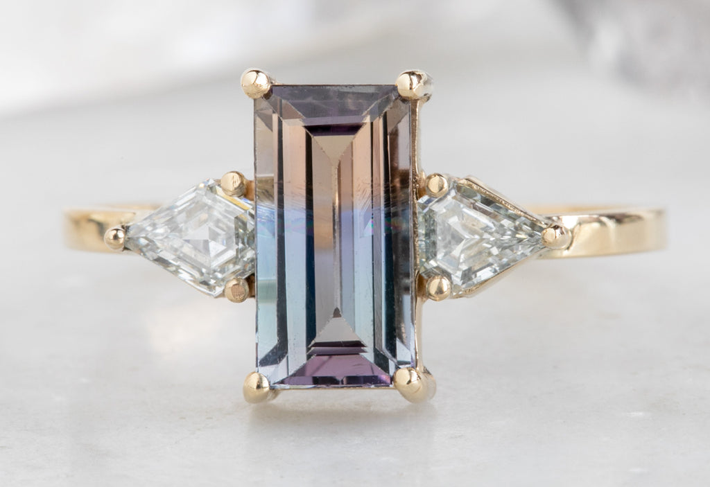 One of a Kind Bicolor Tanzanite + Diamond Engagement Ring