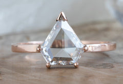 Custom Natural Clear-White Rose Cut Diamond Ring