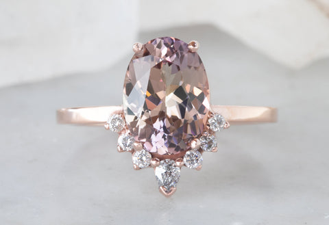 One of a Kind Peachy-Violet Tanzanite Engagement Ring with Diamond Sunburst