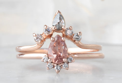 Peach Sunstone Engagement Ring with Diamond Sunburst
