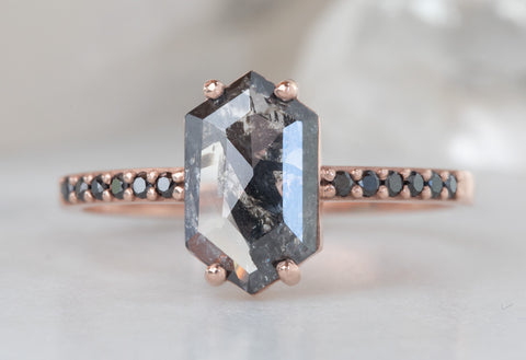 Black Hexagon Diamond Engagement Ring with Black Diamond Pavé Band