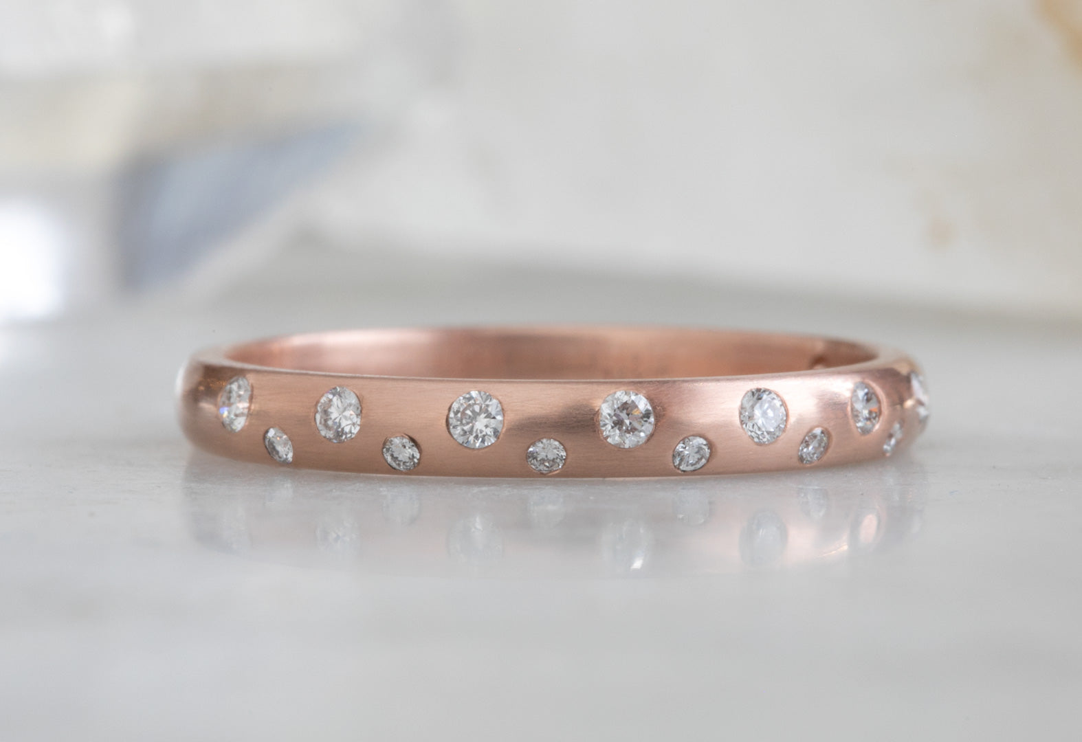 Domed Constellation Diamond Stacking Ring