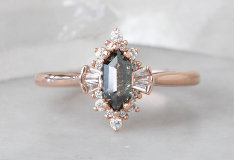 Salt + Pepper Hexagon Diamond Ring with Deco Diamond Halo