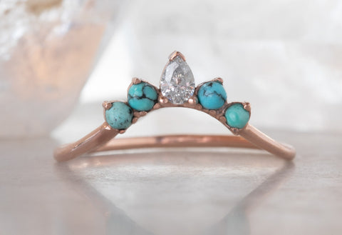 Turquoise + Diamond Sunburst Stacking Ring