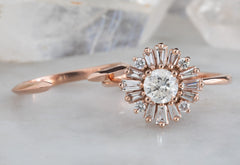 White Diamond Compass Ring